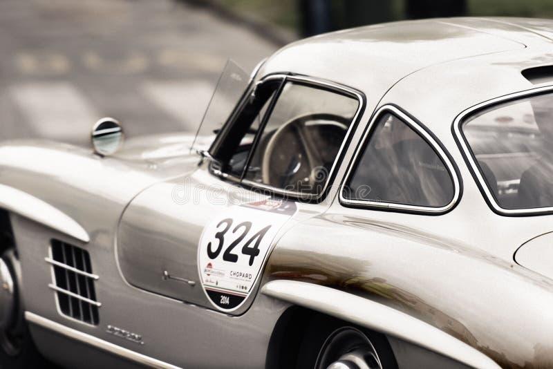 White and Gray Vintage Sports Car stock photos
