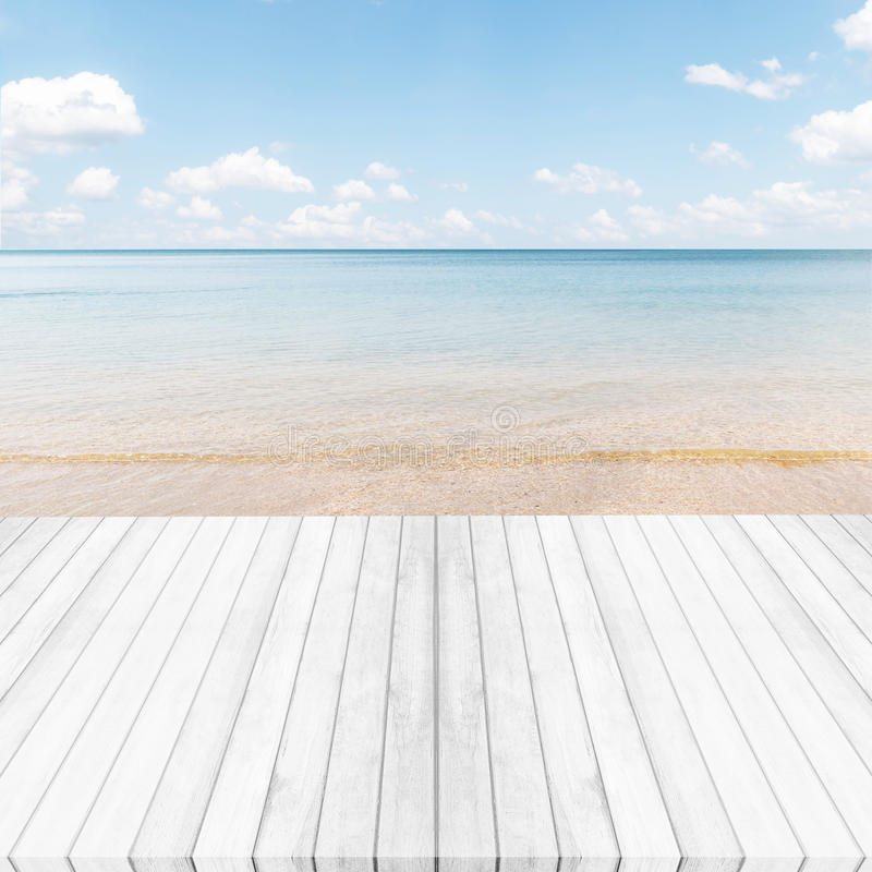 White gray wooden floor ,sea and blue sky background. Summer on. The beach stock photo