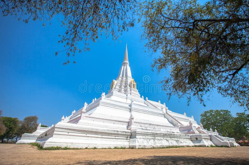 The white great chedi Phu Khao Thong in blue sky. Was built to celebrate the victory of King Naresuan over the Burmese royalty free stock photos