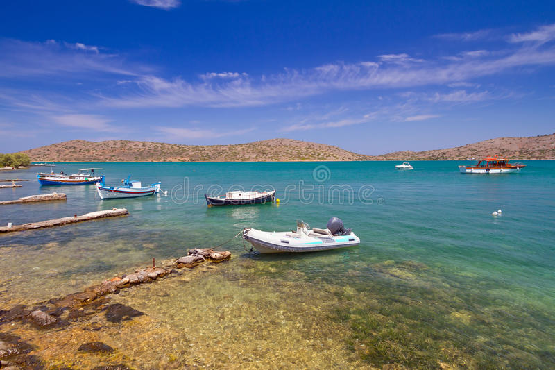 Boats At The Coast Of Crete Stock Photography
