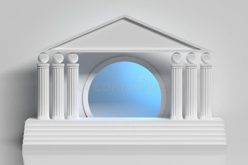 White greek column arcade and circular blue tunnel stock illustration