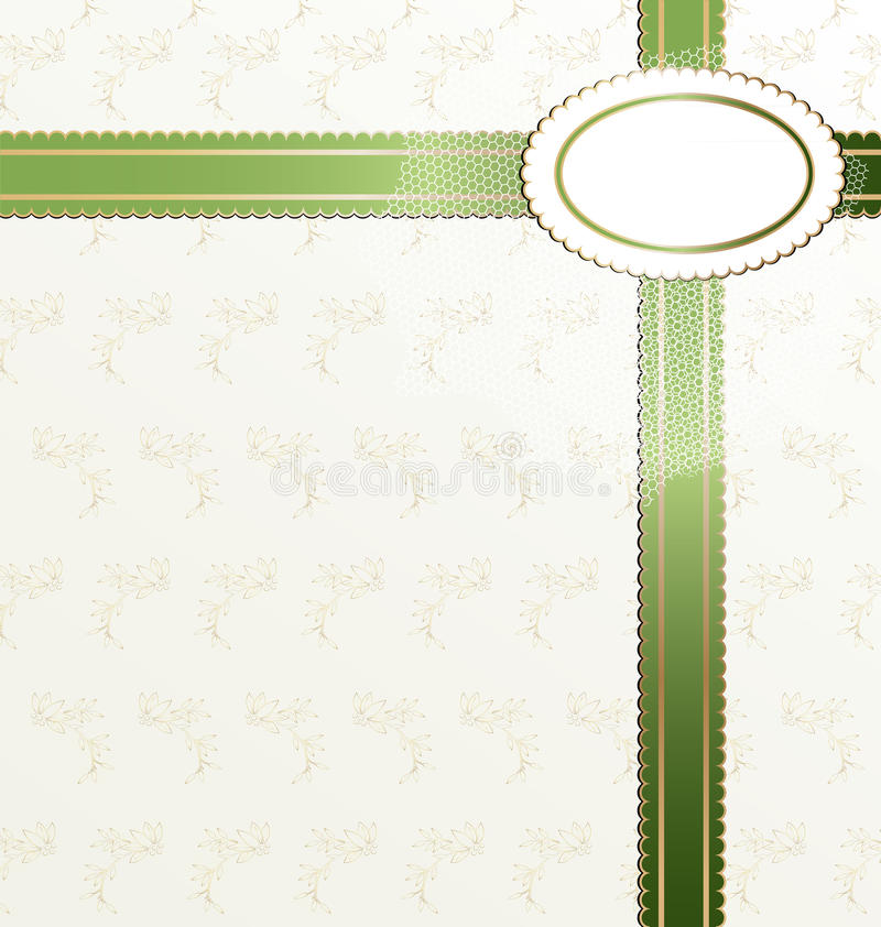 white-green background with ribbon royalty free illustration