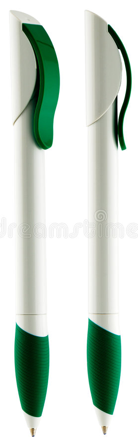 White with green ball-point pen. Two green with black ball-pint pen isolated on white royalty free stock photos