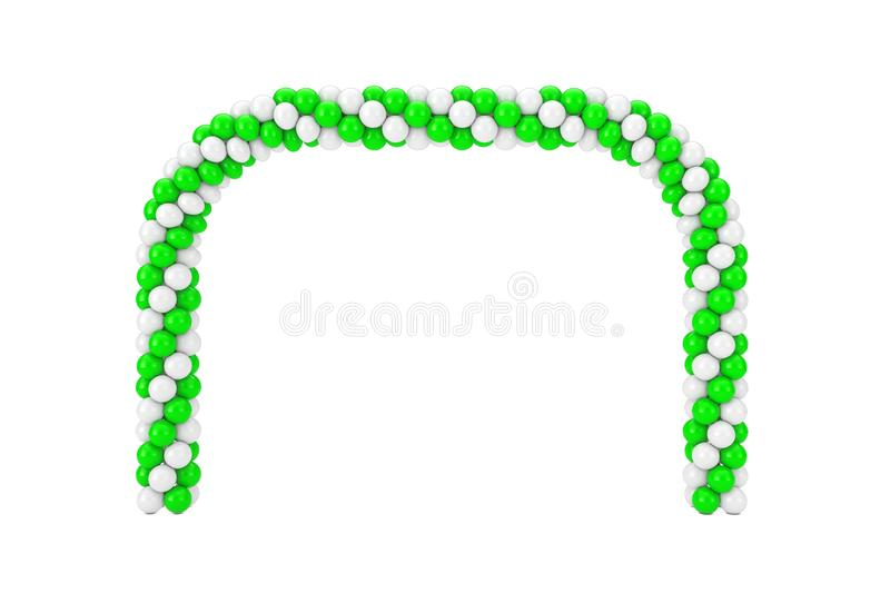 White and Green Balloons in Shape of Arc, Gate or Portal. 3d Rendering. White and Green Balloons in Shape of Arc, Gate or Portal on a white background. 3d royalty free illustration