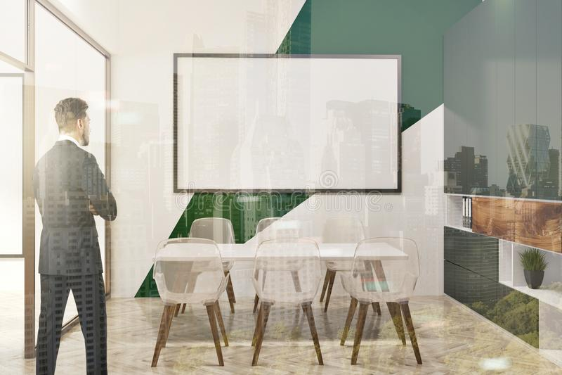 Download White And Green Conference Room, Whiteboard Toned Stock Photo    Image Of Desk,