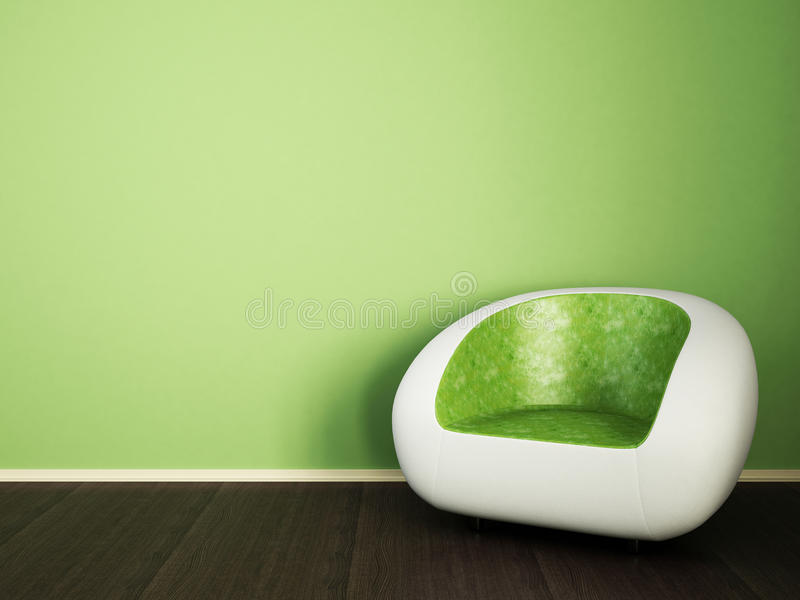 White green couch. A couch or sofa in white and green color, dark wood floor and green matt wall royalty free illustration