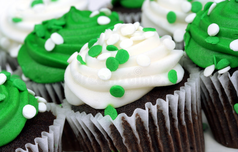 White and Green Cupcakes stock image