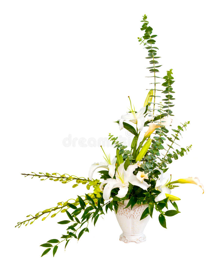 Download White And Green Flower Bouquet Arrangement In Vase Stock Image - Image: 25782667
