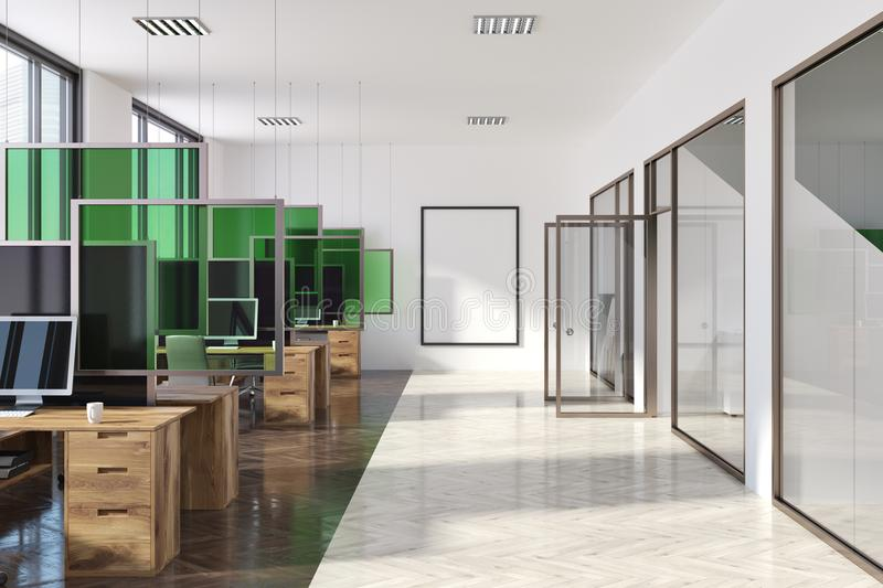 White and green modern office interior, poster stock photography