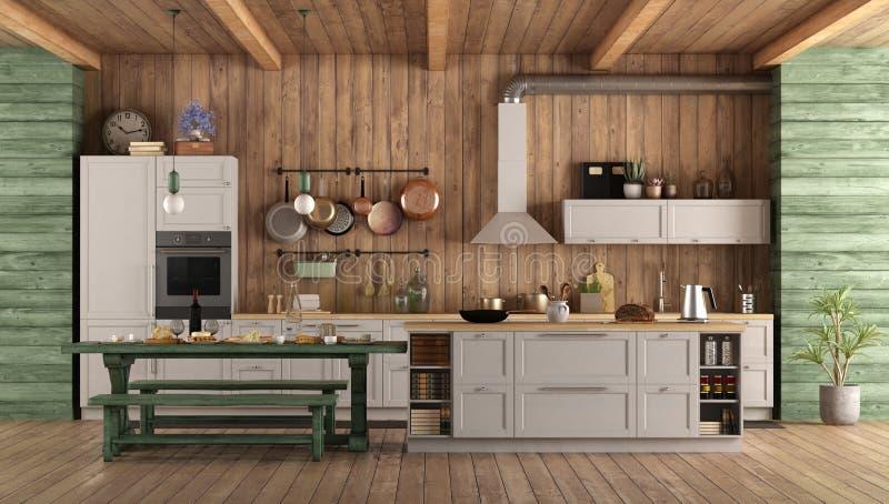White and green retro kitchen vector illustration