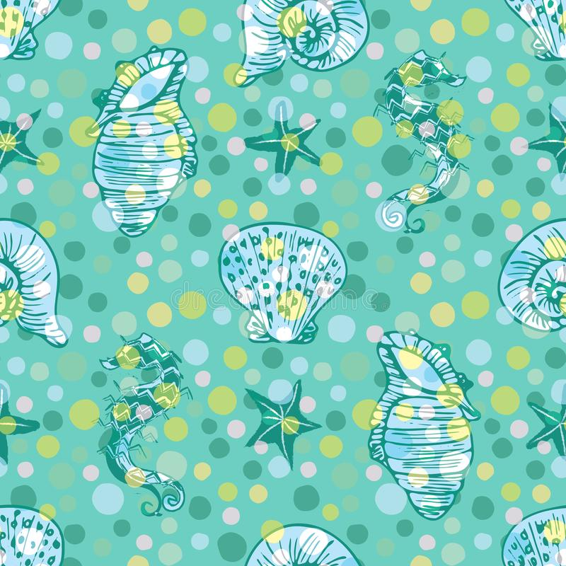 White and green seahorse, starfish and seashell seamless pattern background with polka dot overlay. EPS10 file with transparency mode royalty free illustration