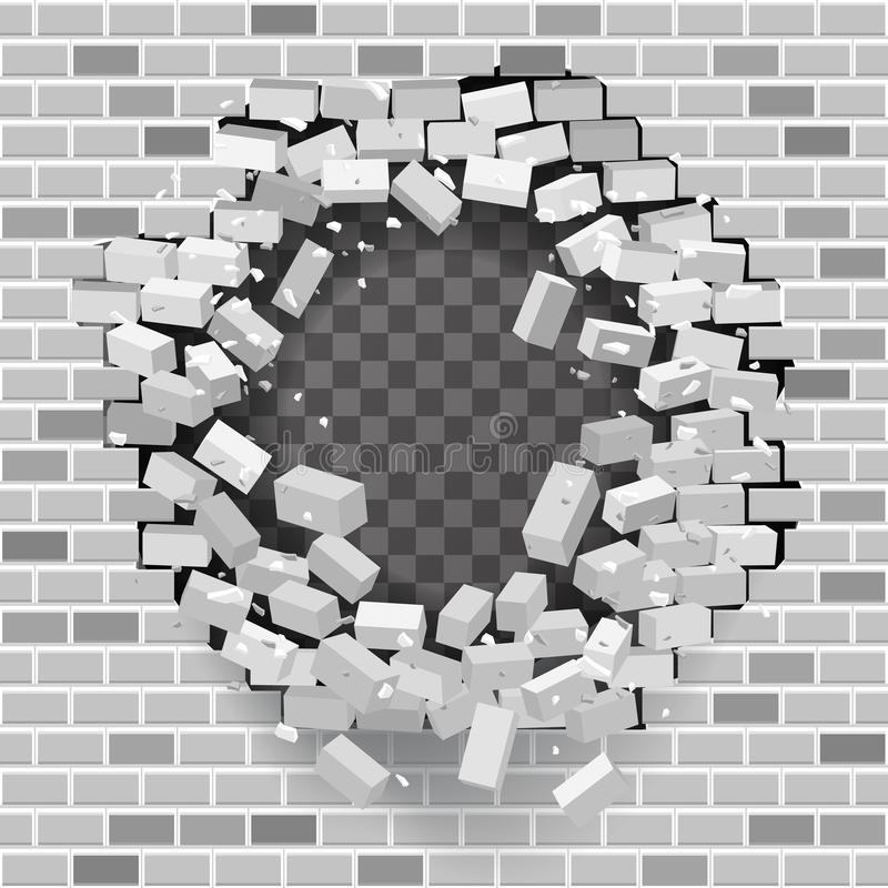 White grey brick break wall hole destruction template transparent background vector illustration. White grey brick break wall hole destruction template royalty free illustration