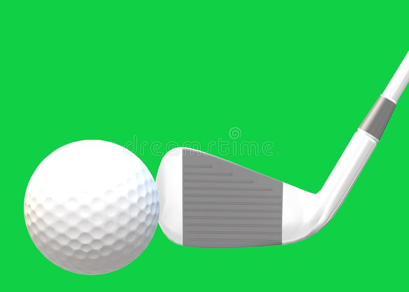 A white grey golf club and a white golf ball against a bright green backdrop royalty free stock images