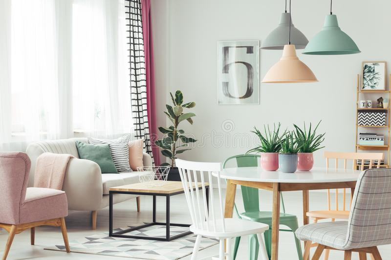 Modern pastel flat interior stock photo