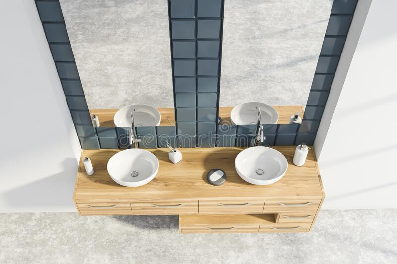 White And Grey Tile Bathroom With Sink, Top View Stock ...