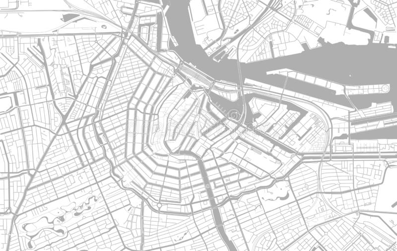 White and grey vector city map of Amsterdam. Cleverly organized with layers stock illustration