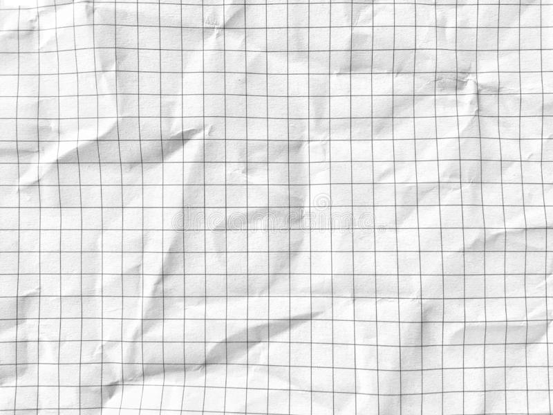 White grid math paper wrinkled texture background stock images