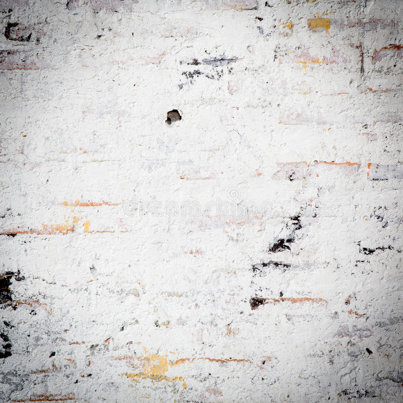 White grunge brick wall stock photo