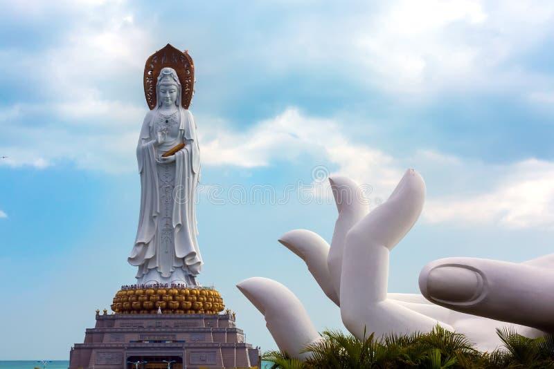 White GuanYin statue in Nanshan Buddhist Cultural Park, Sanya, H royalty free stock photo