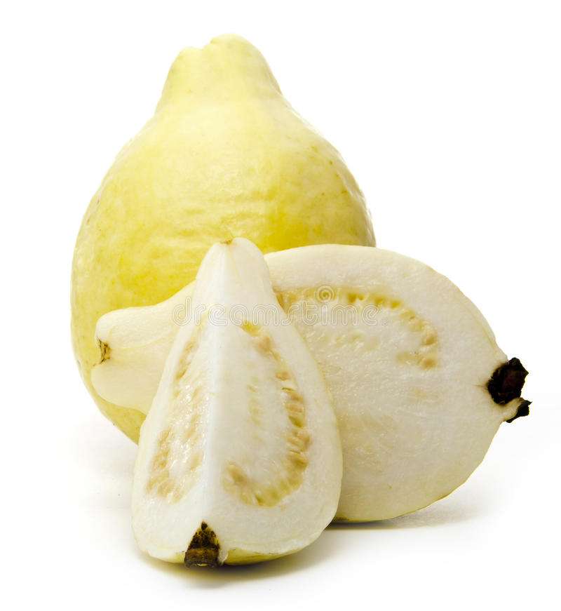 White Guava Full and Sliced stock image