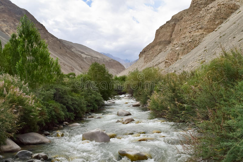 White gushing water of shyok river a tributary of indus river in leh region of Jammu and Kashmir. Clean and pure water of Shyok river in ladakh royalty free stock photo