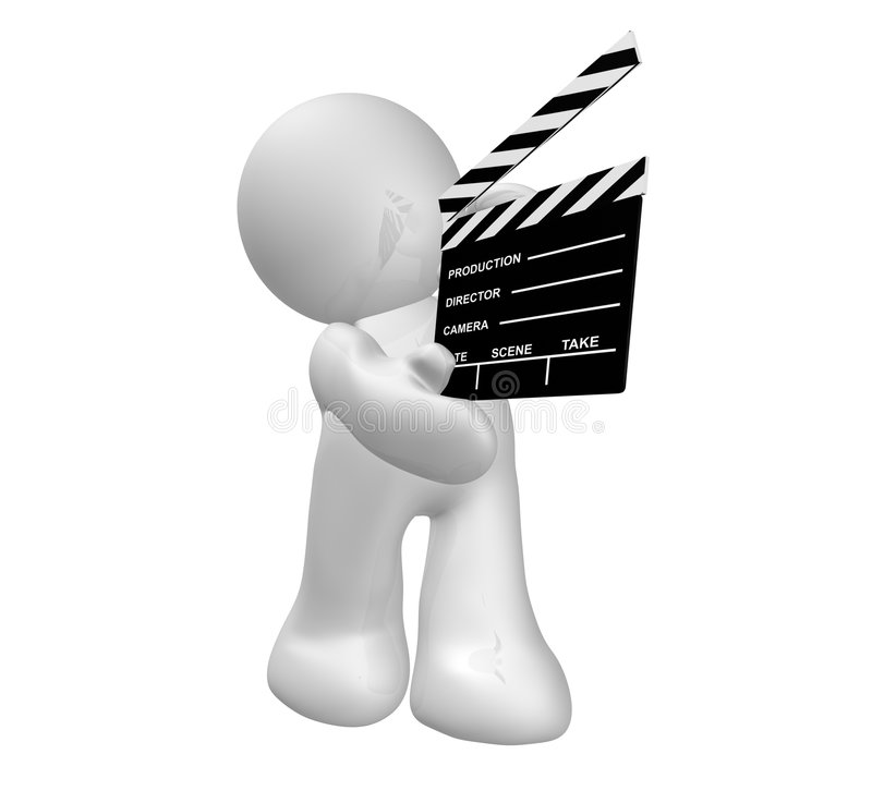White guy icon holding a film scene clap board. Guy icon holding a film scene clap board illustration royalty free illustration