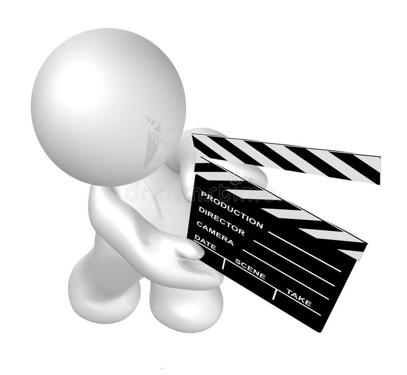White guy icon holding a film scene clap board. Guy icon holding a film scene clap board illustration stock illustration