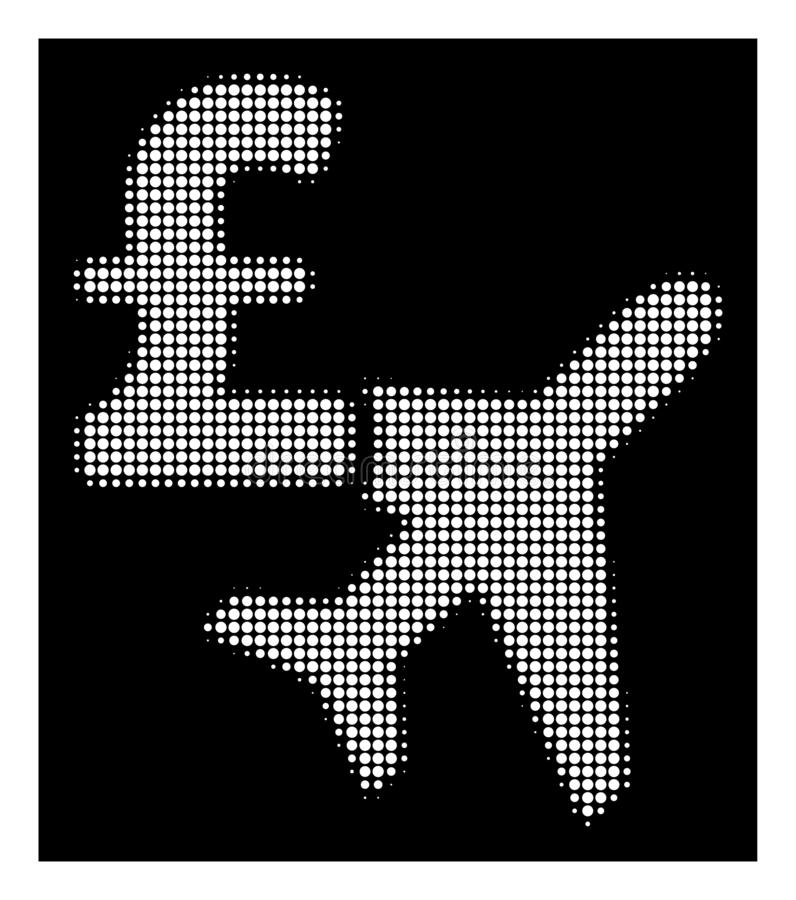White Halftone Aviation Pound Business Icon. Halftone pixelated aviation pound business icon. White pictogram with pixelated geometric pattern on a black stock illustration