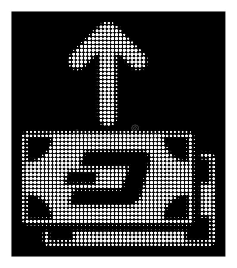 White Halftone Dash Banknotes Pay Out Icon. Halftone pixel Dash banknotes pay out icon. White pictogram with pixel geometric structure on a black background royalty free illustration