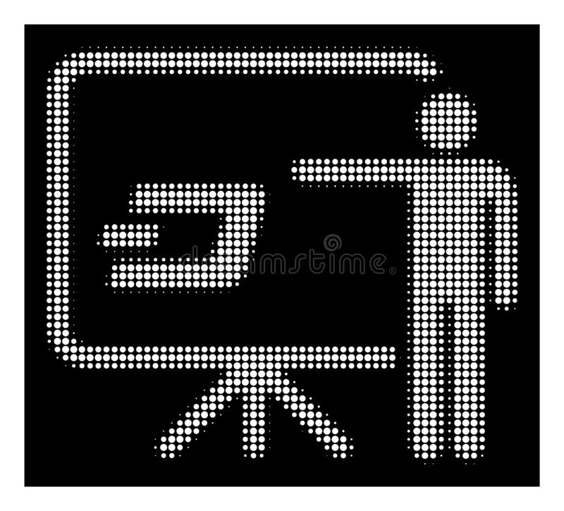 White Halftone Dash Board Presentation Person Icon. Halftone dotted Dash board presentation person icon. White pictogram with dotted geometric structure on a royalty free illustration