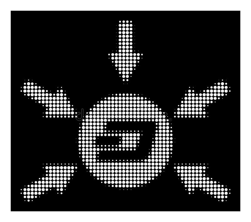 White Halftone Dash Coin Income Arrows Icon. Halftone pixelated Dash coin income arrows icon. White pictogram with pixelated geometric structure on a black vector illustration