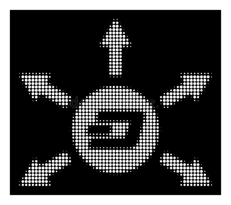 White Halftone Dash Coin Payout Arrows Icon. Halftone dotted Dash coin payout arrows icon. White pictogram with dotted geometric structure on a black background vector illustration