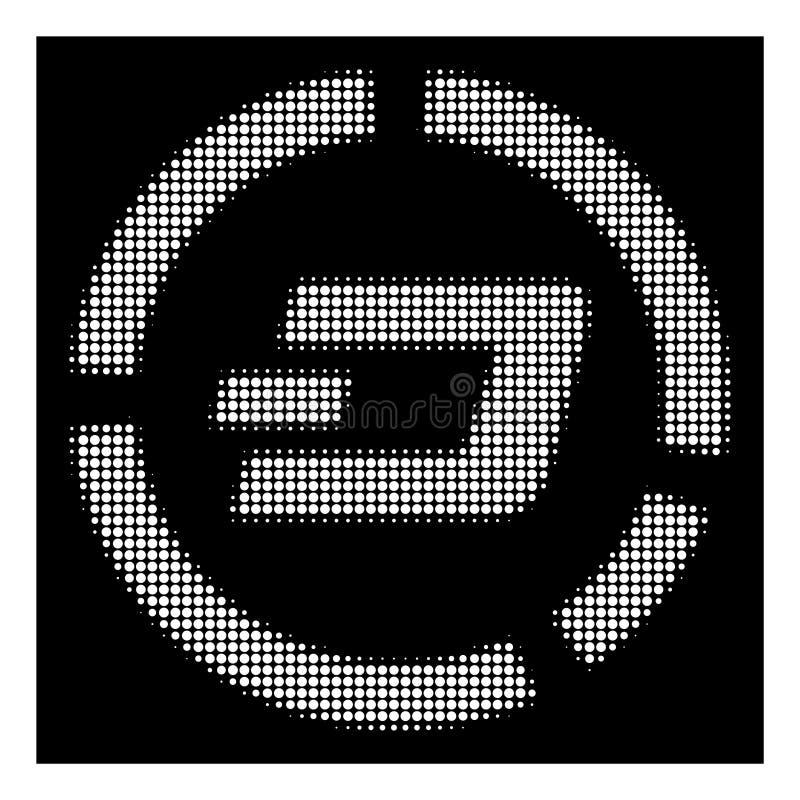 White Halftone Dash Pie Chart Icon. Halftone dotted Dash pie chart icon. White pictogram with dotted geometric structure on a black background. Vector Dash pie stock illustration