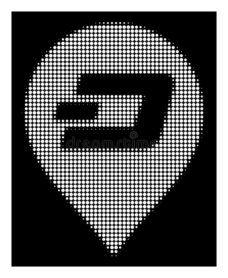 White Halftone Dash Pin Icon. Halftone dotted Dash pin icon. White pictogram with dotted geometric structure on a black background. Vector Dash pin icon vector illustration