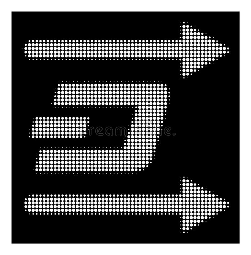 White Halftone Dash Send Arrows Icon. Halftone dotted Dash send arrows icon. White pictogram with dotted geometric pattern on a black background. Vector Dash stock illustration