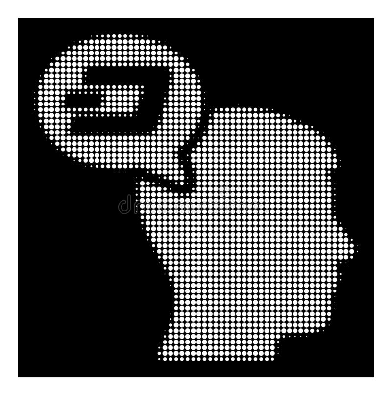 White Halftone Dash Thinking Balloon Icon. Halftone dotted Dash thinking balloon icon. White pictogram with dotted geometric structure on a black background stock illustration