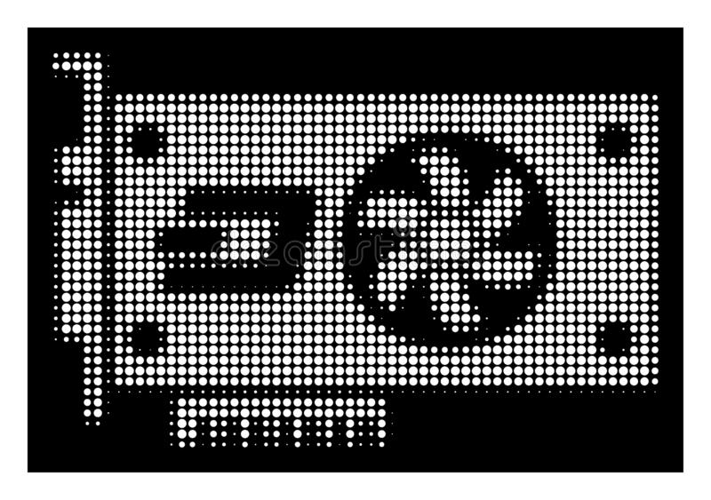 White Halftone Dash Video GPU Card Icon. Halftone pixelated Dash video GPU card icon. White pictogram with pixelated geometric structure on a black background stock illustration