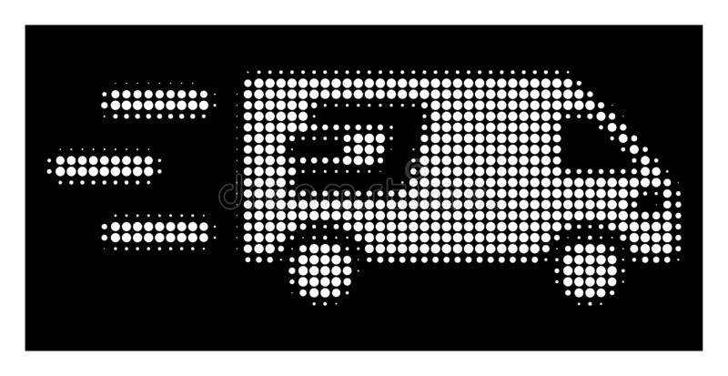 White Halftone Fast Dash Delivery Car Icon. Halftone pixelated fast Dash delivery car icon. White pictogram with pixelated geometric pattern on a black vector illustration