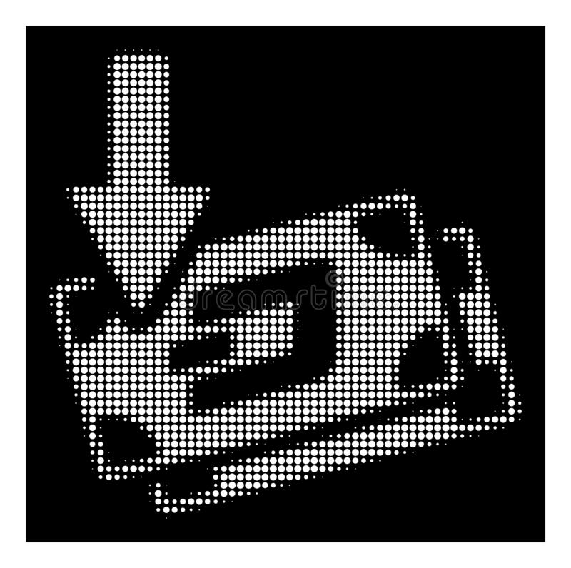 White Halftone Get Arrow Dash Banknotes Icon. Halftone pixel get arrow Dash banknotes icon. White pictogram with pixelated geometric structure on a black vector illustration