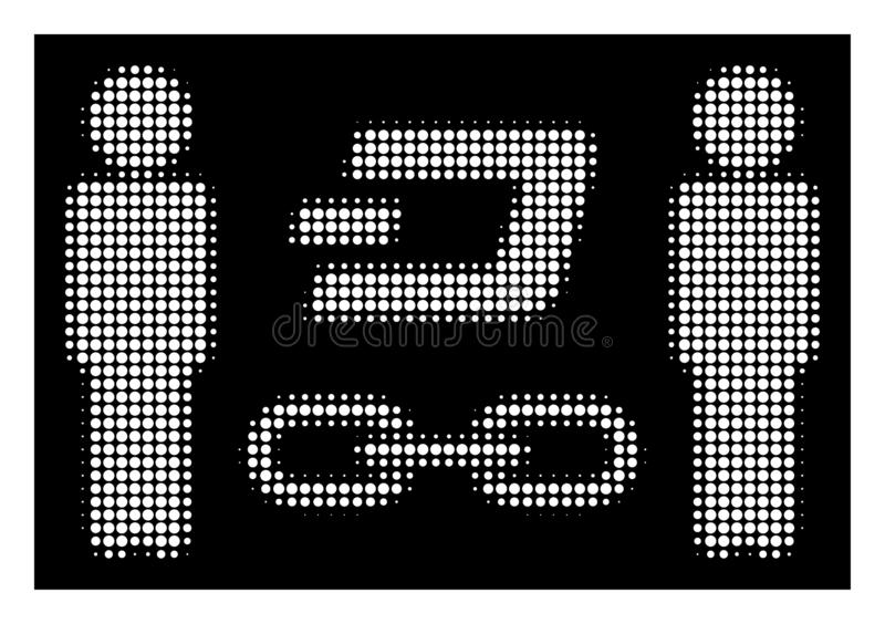 White Halftone People Dash Blockchain Icon. Halftone pixel people Dash blockchain icon. White pictogram with pixel geometric structure on a black background stock illustration