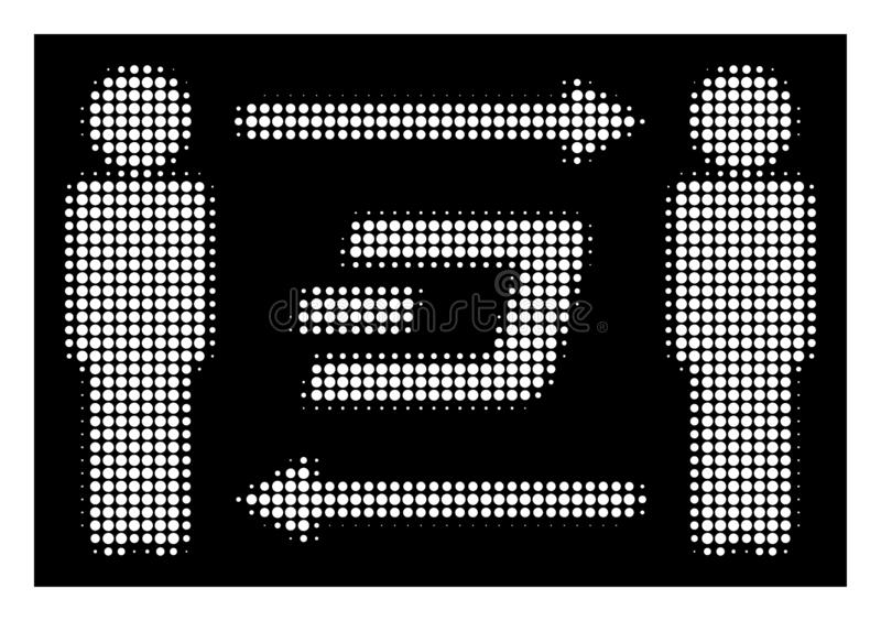 White Halftone People Exchange Dash Icon. Halftone pixel people exchange Dash icon. White pictogram with pixel geometric structure on a black background. Vector stock illustration