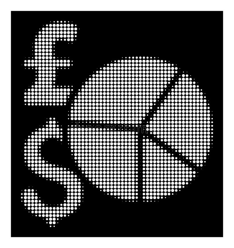 White Halftone Pound And Dollar Pie Chart Icon vector illustration