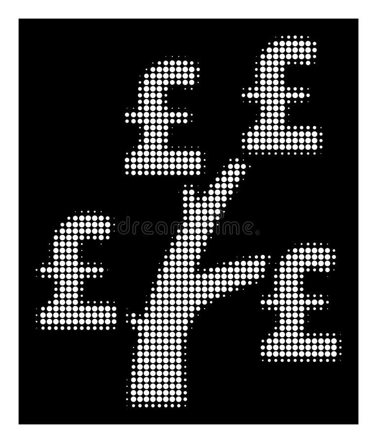 White Halftone Pound Money Tree Icon royalty free illustration