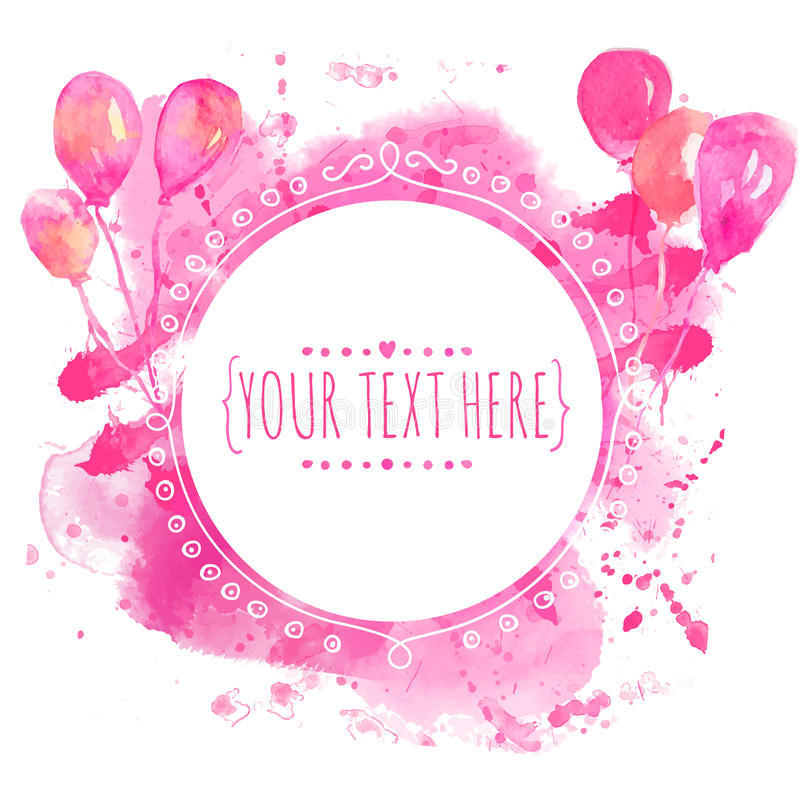 Free White Hand Drawn Circle Frame With Colorful Watercolor Balloons. Pink Paint Splash Background. Artsy Design Concept For Wedding In Stock Images - 48422964