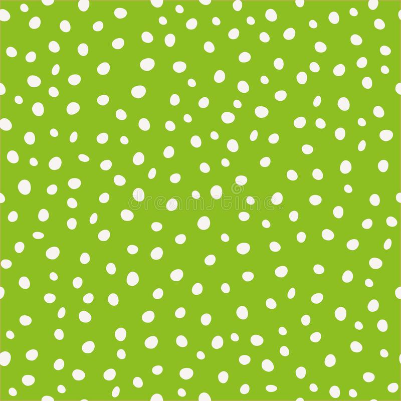 White hand drawn circular paint dots in scattered design. Seamless vector pattern on green background. Great as stock illustration