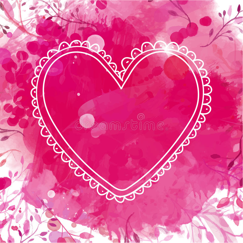 White hand drawn heart frame. Artistic pink watercolor splash background with leaves. Creative design concept for valentines day vector illustration