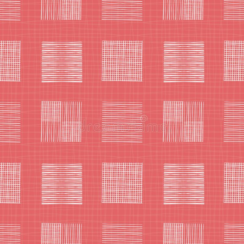 White hand drawn individual doodle squares of different shapes. Geometric seamless pattern on coral grid textured vector illustration