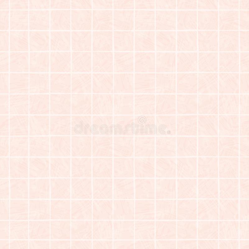 White hand drawn irregular grid design. Seamless geometric pattern on beautiful colour wash pink background. Perfect for vector illustration