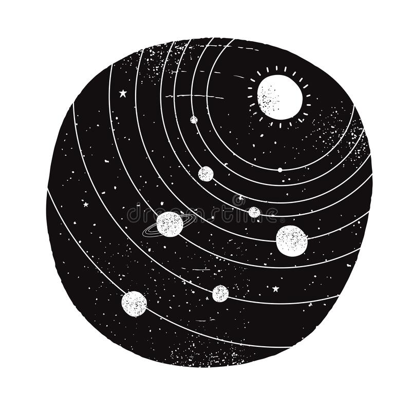 Free White Hand Drawn Solar System In A Black Irregular Round Shape Frame. Stock Photo - 202704450