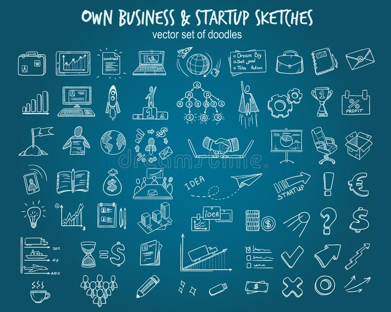 White Hand Drawn Startup Elements Set royalty free illustration